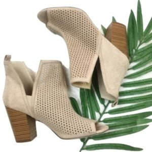 Just Fab Koko Tan Perforated Ankle Booties